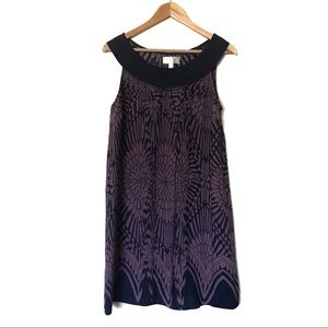 ANTHRO Purple Navy Blue Silk Pleated Silk Dress 10
